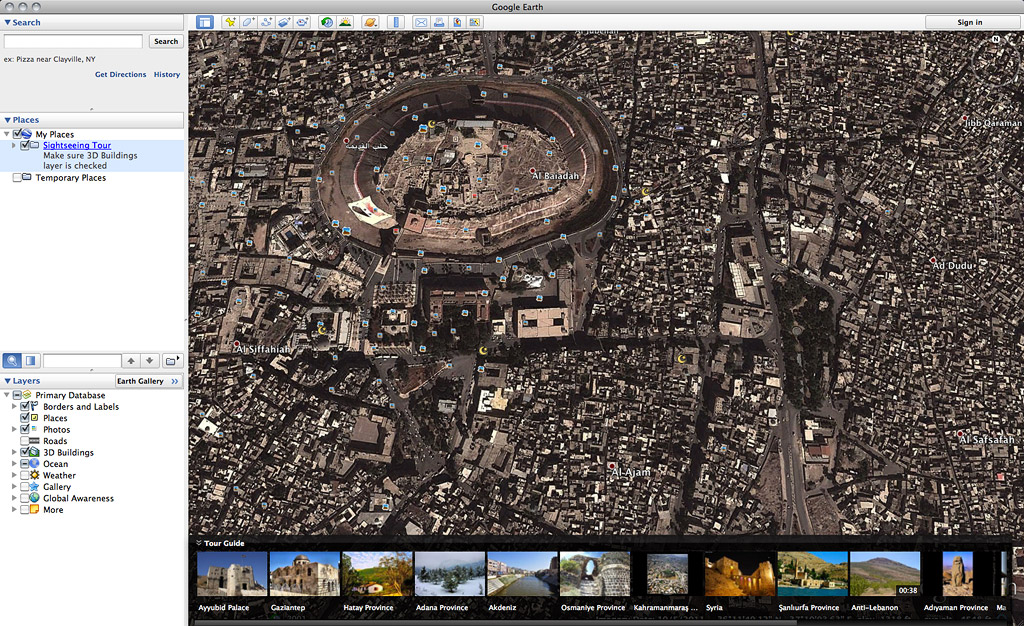 Google mapping a syrian childhood by beth baker terrain a google earth view of aleppos citadel gumiabroncs Gallery