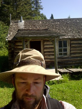Kurt Caswell leaves Grey Owl's cabin.