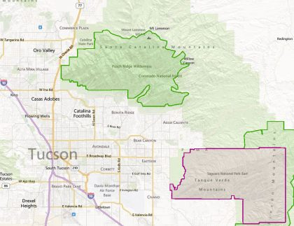 Map of Pusch Ridge Wilderness Area in relation to Tucson.