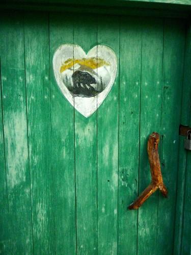 Green door and handle