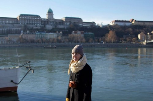 Wearing my black coat on the Danube