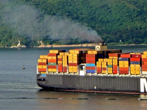 Since mid-July 2014 emitting ship smoke this dark has probably been illegal in Hong Kong waters.