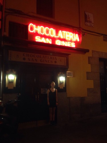 Standing outside of San Gines, churros and chocolate restaurant
