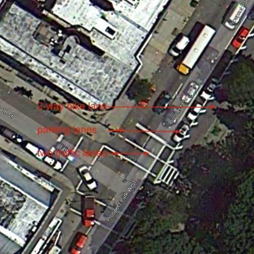 The Prospect Park West Bicycle Lane made the road safer for all users. (source: Google Maps)