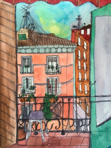 watercolor of my balcony