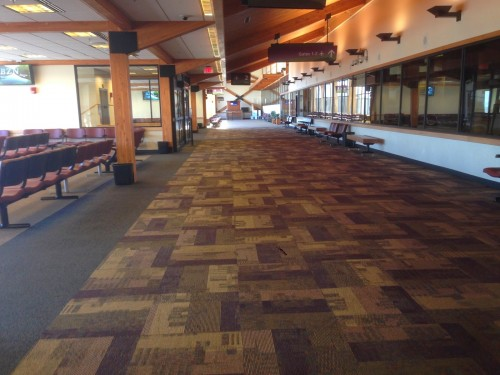 Inside the Bozeman Yellowstone International Airport.