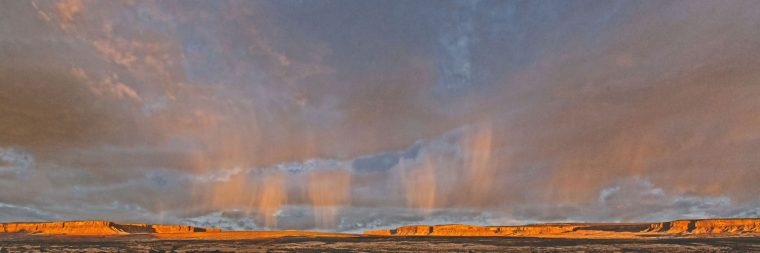 Mesas near Bluff, Utah: storm at sunset
