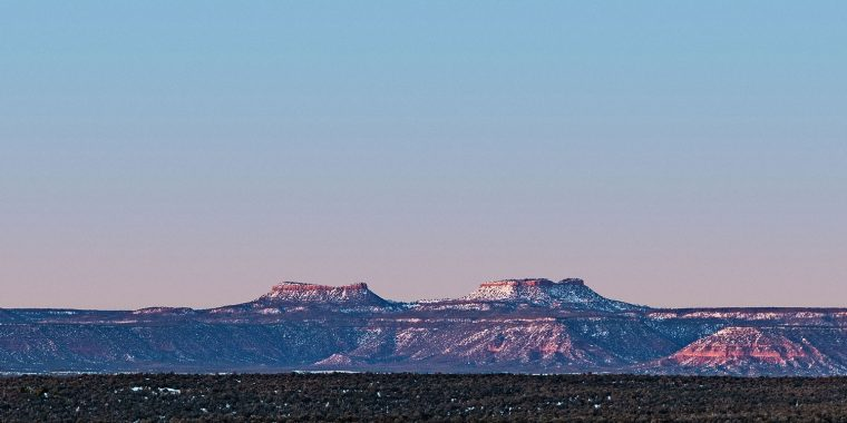 Bears Ears, winter at sunset
