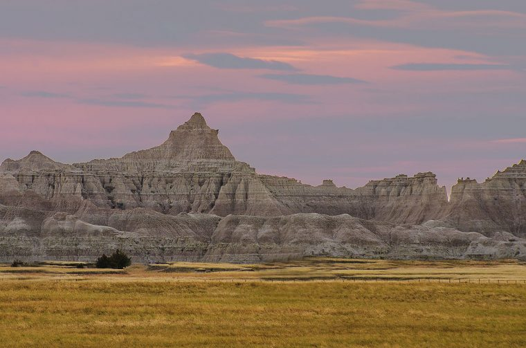Badlands National Park at sunset.