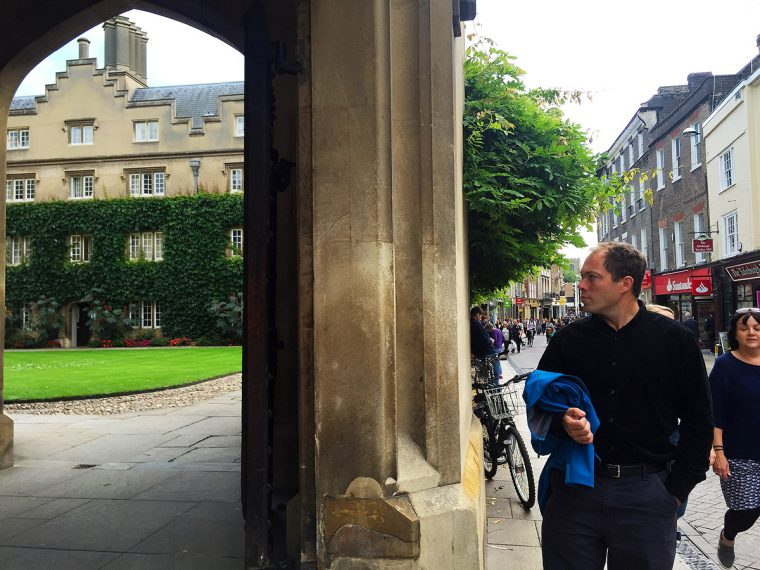 Cambridge college courtyard and exterior street