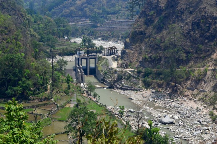 Diversion dam in the Bhilangana III hydropower project.