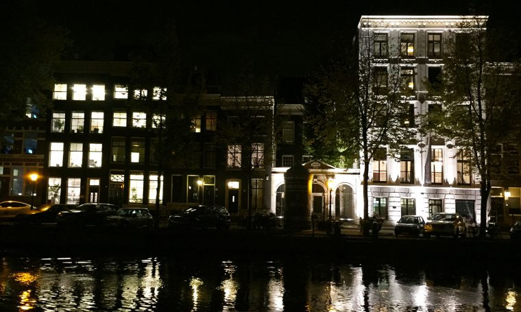 Amsterdam canal streetscape at night