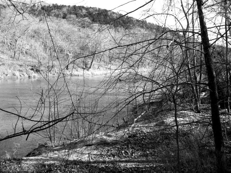 The Meramec River, as seen from a bluff in what was once Times Beach, Missouri. Photo by Jennie Goode.