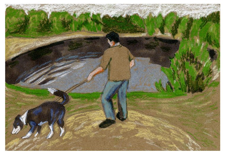 Father walking dog by lake. Image by Martha Park.