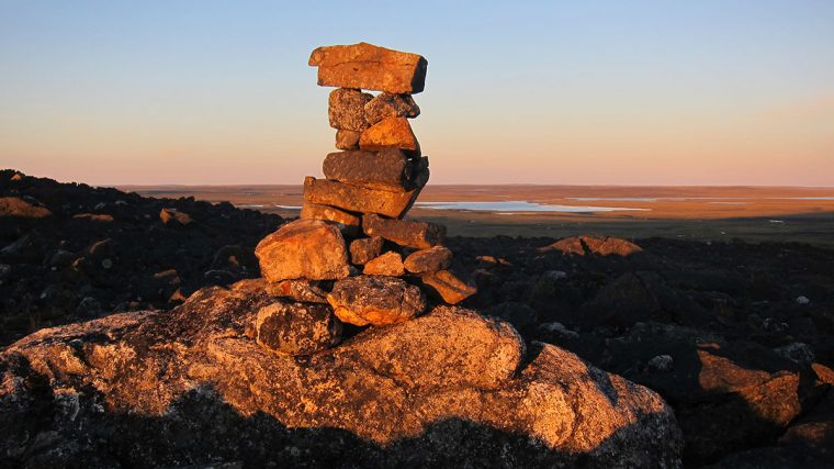 Stone cairn near Nunavik