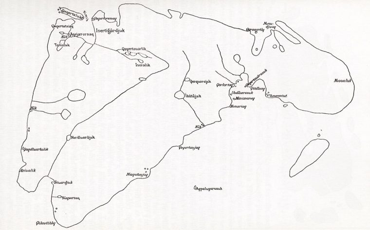 Map of Southampton Island drawn by Autdlanaq