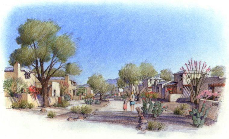 Street-level rendering of Civano's Desert Country area