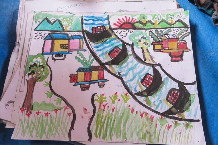 Child's painting of a happy Rohingyan village