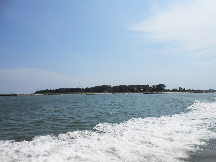 Chesapeake Bay with Tangier Island in the distance. Photo by Rick Van Noy.