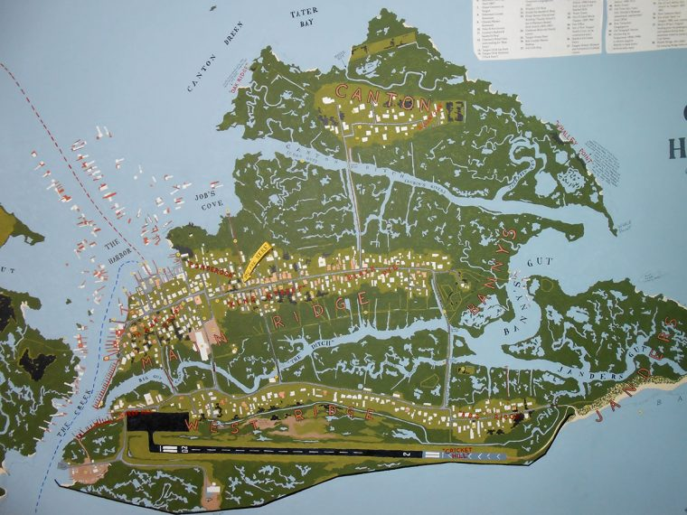 Map of Tangier Island painted on the wall. Photo by Rick Van Noy.