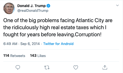 @realDonaldTrump: One of the big problems facing Atlantic City are the ridiculously high real estate taxes which I fought for years before leaving.Corruption!