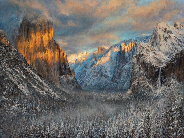 Painting: Ahwahnee Winter Sunset, by James McGrew