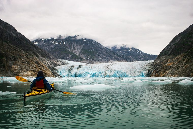 Dawes Glacier and kayaker
