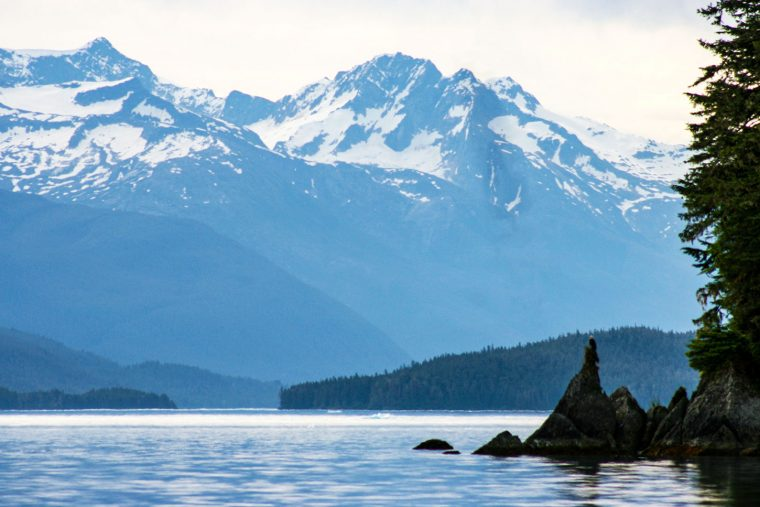Alaskan sea and mountains